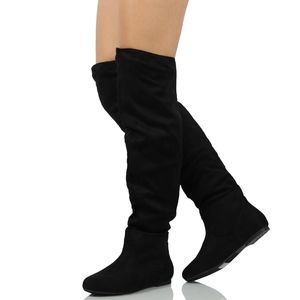 Black Slouchy Over The Knee Pull On Flat Boot